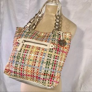The SAK brightly woven shoulder bag.